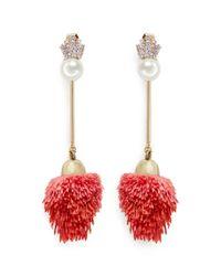 Venna | Red Detachable Pearl Stud Pompom Drop Earrings | Lyst