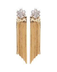 Venna   Metallic Glass Crystal Snowflake Fringe Drop Jacket Earrings   Lyst