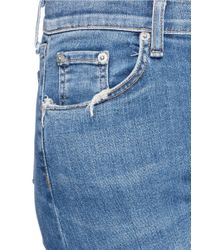 Rag & Bone | Blue Distressed Knee Cropped Flared Jeans | Lyst