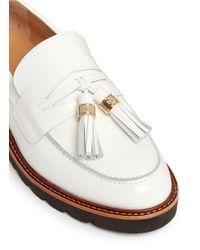 Stuart Weitzman - White 'manila' Tassel Tie Spazzolato Leather Loafers - Lyst