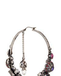 Alexander McQueen - Metallic Swarovski Crystal Natural Pearl Creole Earrings - Lyst