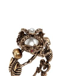Alexander McQueen - Metallic Skeleton Faux Pearl Crown Ring - Lyst