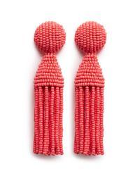 Oscar de la Renta - Pink 'classic Short' Beaded Tassel Drop Clip Earrings - Lyst