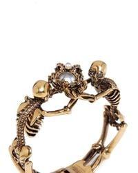 Alexander McQueen - Metallic Skeleton Faux Pearl Crown Cuff - Lyst