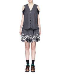 Sacai - Gray Lace Pinstripe Vest Suit Dress - Lyst