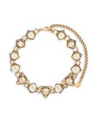 Erickson Beamon | Metallic 'bermuda Triangle' Crystal Pavé Glass Pearl Necklace | Lyst