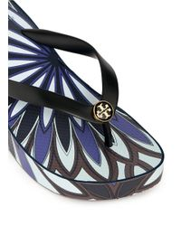 Tory Burch - Blue 'thandie' Floral Print Wedge Flip Flops - Lyst