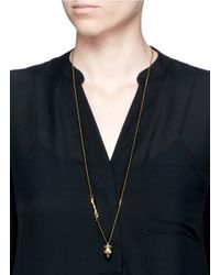 Alexander McQueen   Metallic Faux Pearl Crown Skull Pendant Necklace   Lyst