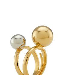 Kenneth Jay Lane - Metallic Contrast Double Sphere Ring - Lyst