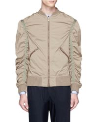 Kolor | Green Ruched Sleeve Bomber Jacket for Men | Lyst