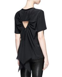 Alexander Wang - Black Gathered Cutout Back Silk Top - Lyst