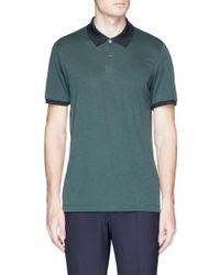 Theory - Green 'band' Polo Shirt for Men - Lyst