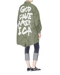 R13 - Green 'god Save America' Appliqué Fishtail Coat - Lyst
