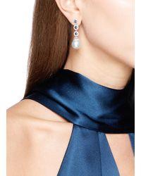 LC COLLECTION - Metallic Diamond Alexandrite Pearl Circular Drop Earrings - Lyst