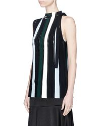 Proenza Schouler - Black Drawstring Neck Stripe Ottoman And Pointelle Knit Top - Lyst