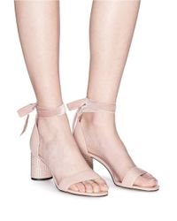 Pedder Red - Pink 'stacy' Stud Pavé Heel Leather Sandals - Lyst
