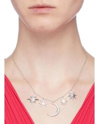 CZ by Kenneth Jay Lane - Metallic Cubic Zirconia Moon And Starburst Pendant Necklace - Lyst