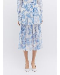 db1c230353 Oscar de la Renta. Women's Blue Floral Toile Print Pleated Tiered Silk  Chiffon Skirt