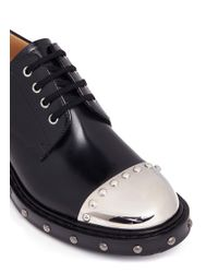 Alexander McQueen - Black Hobnail Metal Plate Leather Derbies for Men - Lyst