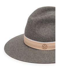 Maison Michel - Gray 'rico' Rabbit Furfelt Fedora Hat for Men - Lyst