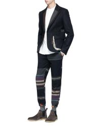 Kolor | Blue Exposed Lapel Fur Trim Melton Blazer for Men | Lyst