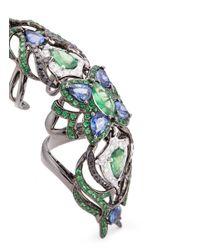 Wendy Yue - Metallic Diamond Sapphire Tsavorite 18k White Gold Full Finger Ring - Lyst