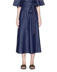 Tibi - Blue Belted Denim Wrap Skirt - Lyst