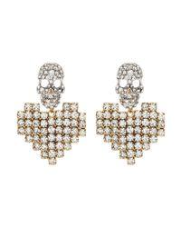 Venna - Metallic Detachable Glass Crystal Heart Drop Skull Stud Earrings - Lyst