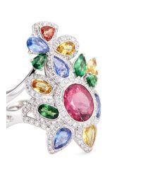 Wendy Yue   Metallic Diamond Gemstone 18k White Gold Two Ring Set   Lyst