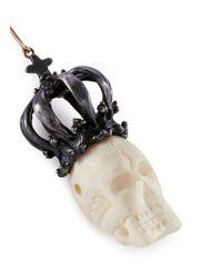 Delfina Delettrez | Metallic 'bone Skull' 18k Yellow Gold And Silver Drop Earrings | Lyst
