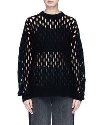 Alexander Wang - Black Fishnet Wool Blend Sweater - Lyst