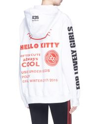 Gcds - White 'hello Kitty Rock' Print Hoodie - Lyst