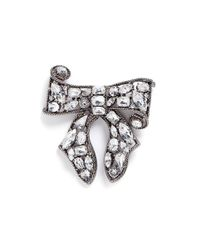 Kenneth Jay Lane - White Glass Crystal Bow Brooch - Lyst