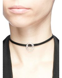 CZ by Kenneth Jay Lane - White Cubic Zirconia Interlocking Circle Charm Faux Leather Choker - Lyst