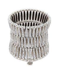 Philippe Audibert - Metallic 'almond' Swarovski Crystal Three Row Plate Elastic Bracelet - Lyst