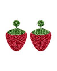 Kenneth Jay Lane - Red Beaded Strawberry Drop Earrings - Lyst