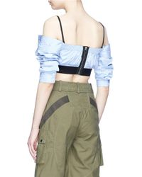 Alexander Wang - Multicolor Bralette Panel Pinstripe Poplin Cropped Off-shoulder Top - Lyst