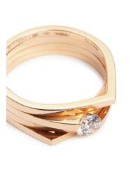 Repossi - Metallic 'antifer' Diamond 18k Rose Gold Four Row Teardrop Ring - Lyst