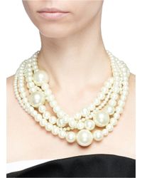 Kenneth Jay Lane | White Five Row Glass Pearl Necklace | Lyst