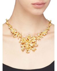 Kenneth Jay Lane - Metallic Glass Crystal Glass Pearl Branch Necklace - Lyst