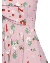 Valentino - Pink Bow Front Daisy Print Silk Dress - Lyst