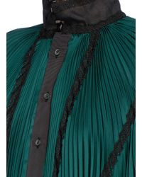 Sacai   Green Lace Trim Plissé Pleated Sateen Dress   Lyst