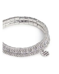 Philippe Audibert - Metallic 'betty' Swarovski Crystal Textured Plate Elastic Bracelet - Lyst