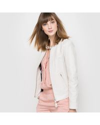 Schott Nyc - Multicolor Leather Biker Jacket With Leaf Print Lining - Lyst