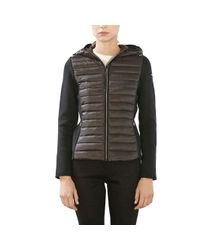 Esprit | Black Dual Fabric Padded Jacket With Hood | Lyst