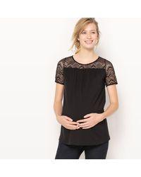 LA REDOUTE - Black Crew Neck Maternity T-shirt - Lyst