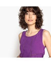 LA REDOUTE - Purple Ruffled Blouse With Openwork Detail - Lyst