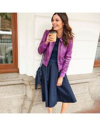 LA REDOUTE - Purple Fine Gauge Knit Jumper/sweater With Polo Collar And 3/4 Length Sleeves - Lyst