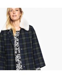 LA REDOUTE - Blue Wool Blend Checked Shearling Collar Coat - Lyst