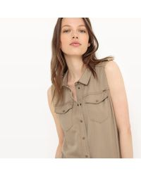 ONLY - Natural Plain Short Dungarees - Lyst